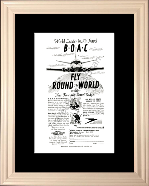 1954 British Overseas Airways Vintage Ad Airline Airplane Travel Vacation Europe Africa 54 *You Choose Frame-Mat Colors-Free USA S&H*