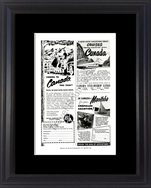 1954 54 Canada Manitoba Steamship Lines British American Oil Travel Vintage Ad