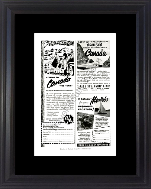 1954 Canada Manitoba Travel Vintage Ad Vacation Steamship Lines British American Oil 54 *You Choose Frame-Mat Colors-Free USA S&H*