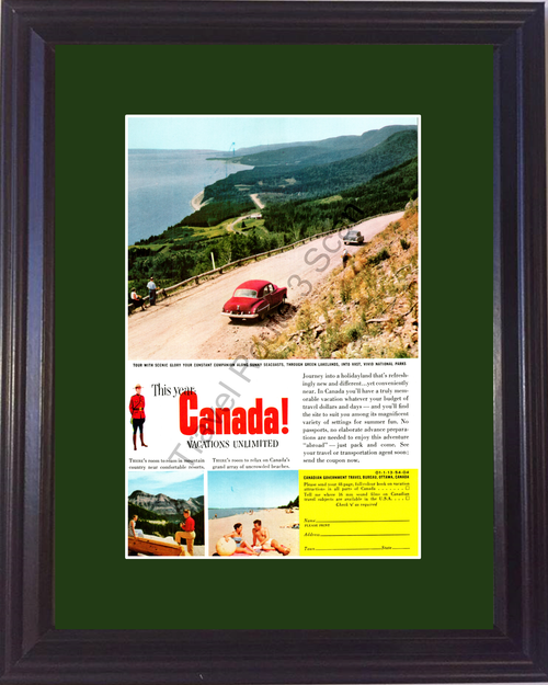 1954 Canada Lakelands Travel Vintage Ad Vacation National Parks Beaches Country Resorts 54 *You Choose Frame-Mat Colors-Free USA S&H*