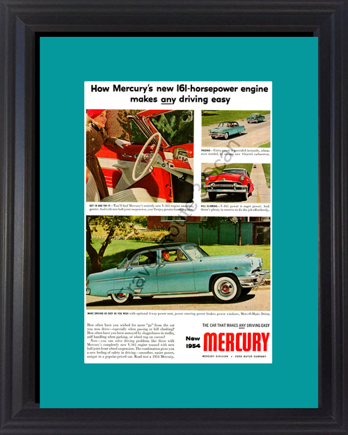 1954 Mercury Monterey Vintage Ad 4 Door Sedan Merc-O-Matic V-161 Convertible Easy Driving Car 54 *You Choose Frame-Mat Colors-Free USA S&H*