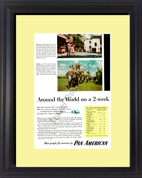 1954 Pan American Paris India Vintage Ad Travel Vacation Airline Clipper Trip Elephants 54 *You Choose Frame-Mat Colors-Free USA S&H*