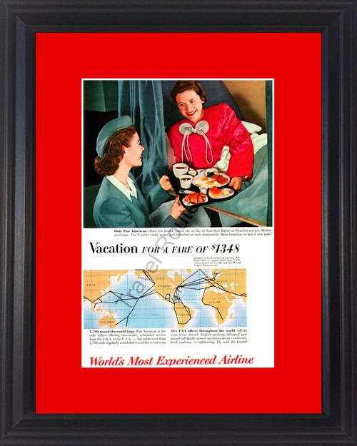 1954 54 Pan American Airline Air Plane Travel Vintage Ad