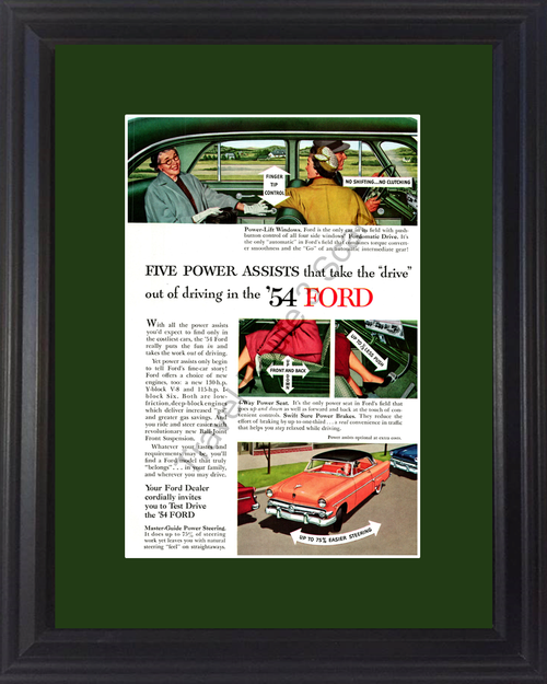 1954 Ford Vintage Ad Power Assists Window Seat Brakes Steering Fordomatic 54 *You Choose Frame-Mat Colors-Free USA S&H*
