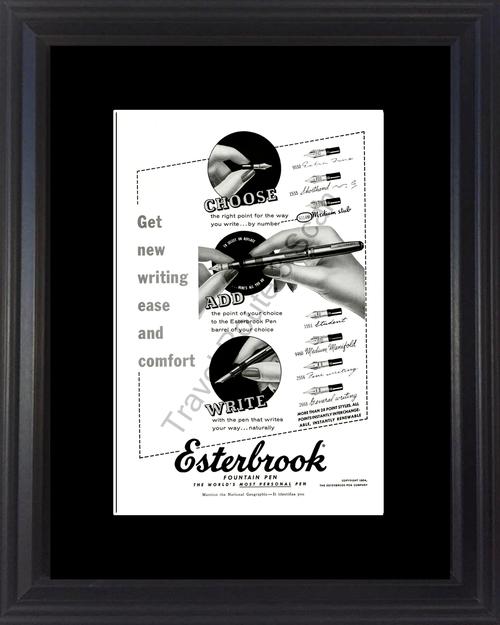 1954 54 Esterbrook Fountain Pen Calligraphy Writing Vintage Ad