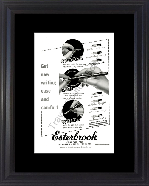 1954 Esterbrook Fountain Pen Vintage Ad Calligraphy Writing Choose Add Write 54 *You Choose Frame-Mat Colors-Free USA S&H*