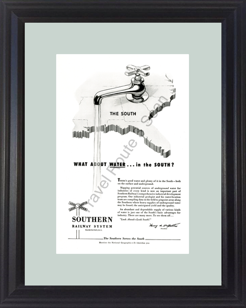 1954 54 Southern Railway System Serves the South Water Vintage Ad