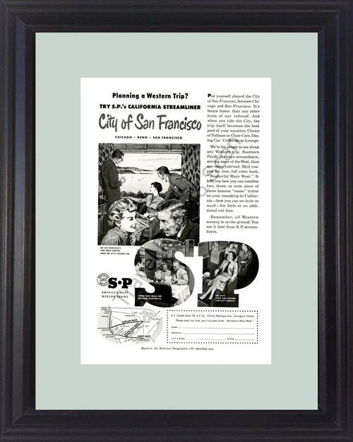 1954 54 San Francisco California CA Southern Pacific Streamliner Train Railroad Travel Vintage Ad