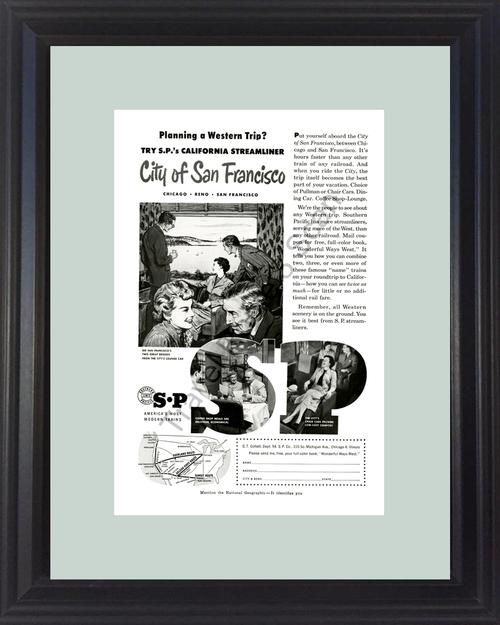 1954 54 San Francisco California CA Southern Pacific Streamliner Train Railroad Travel Vintage Ad