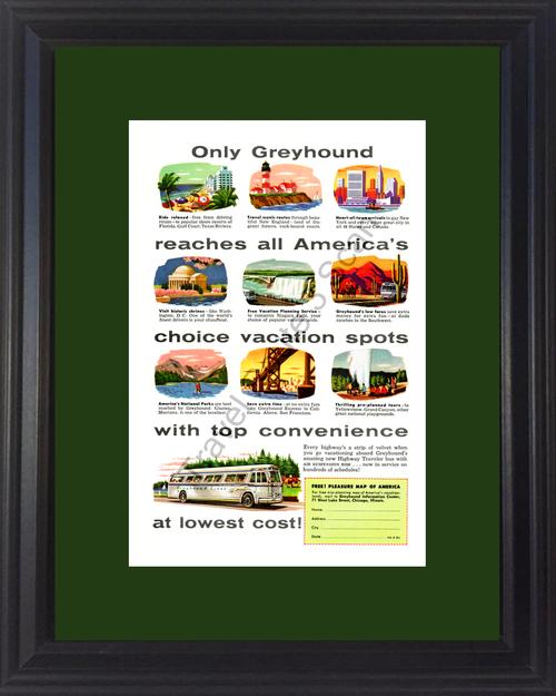 1954 Greyhound Bus Vacation Vintage Ad Travel Lighthouse New York Niagara Falls National Parks Gulf Coast *You Choose Frame-Mat Colors-Free USA S&H*