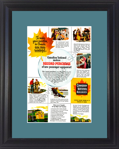 1954 Canadian National Railways Vintage Ad Canada Vacation Travel Railroad Train Maple Leaf Wonderful 54 *You Choose Frame-Mat Colors-Free USA S&H*