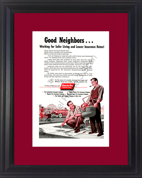 1954 Good Neighbors Insurance Vintage Ad America Fore Group Car Auto Home Life Baby Carriage Stroller 54 *You Choose Frame-Mat Colors-Free USA S&H*