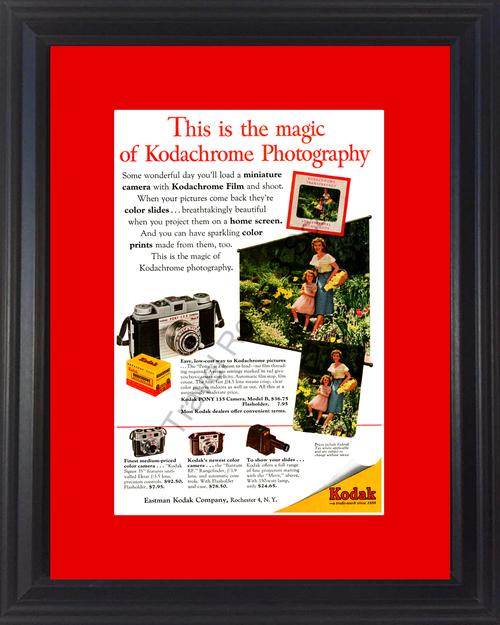 1954 Kodak Kodachrome Camera Vintage Ad Photography Photo Color Prints Slides 54 *You Choose Frame-Mat Colors-Free USA S&H*