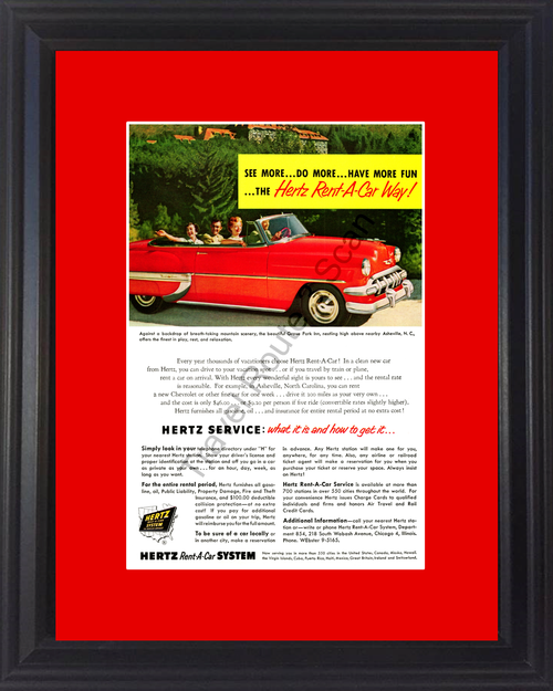 1954 Hertz Chevrolet Bel Air Vintage Ad 54 Chevy Convertible Asheville North Carolina NC Travel *You Choose Frame-Mat Colors-Free USA S&H*