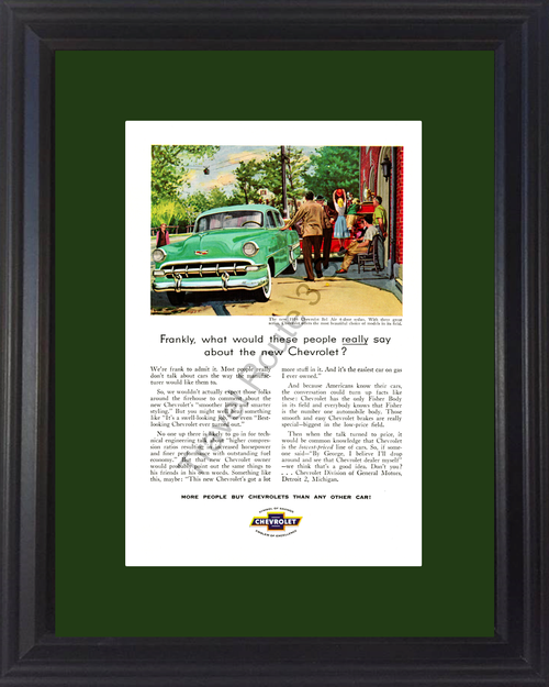 1954 Chevrolet Bel Air Vintage Ad 54 Chevy 4-Door Sedan Firehouse Fire Department *You Choose Frame-Mat Colors-Free USA S&H*