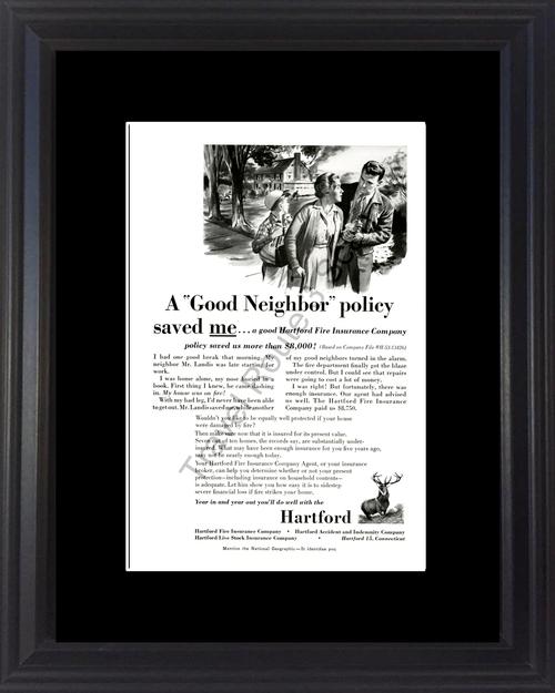 1954 54 Hartford Fire Insurance Company House Home Vintage Ad