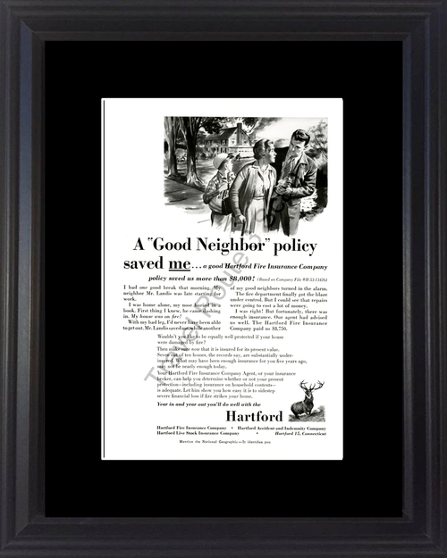 1954 Hartford Fire Insurance Vintage Ad Company Good Neighbor Policy Saved Me Story House Home 54 *You Choose Frame-Mat Colors-Free USA S&H*