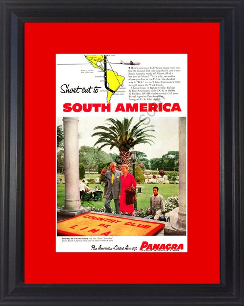 1954 South America Lima Travel Vintage Ad Vacation Panagra Pan American Grace Airways Peru Country Club 54 *You Choose Frame-Mat Colors-Free USA S&H*