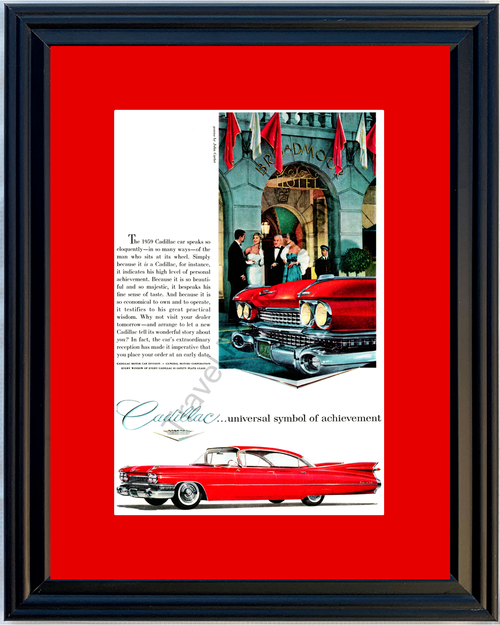 1959 Cadillac Sedan de Ville Vintage Ad 59 Broadmoor Hotel Gowns by John Carter *You Choose Frame-Mat Colors-Free USA S&H*