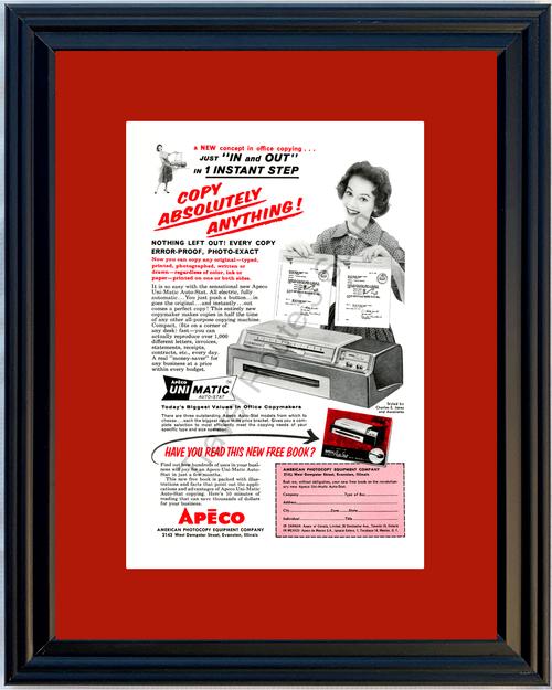 1959 American Photocopy Equipment Company Vintage Ad APECO Copy Machine 59 *You Choose Frame-Mat Colors-Free USA S&H*
