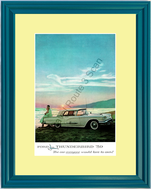 1959 Ford Thunderbird Vintage Ad 59 TBird T-Bird Unique in all the World *You Choose Frame-Mat Colors-Free USA S&H*