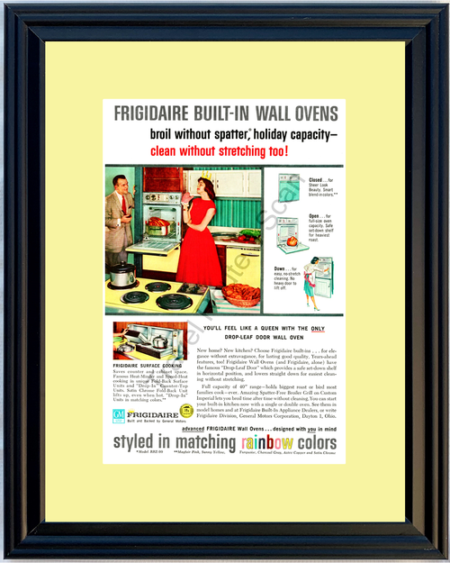 1959 Frigidaire Wall Oven Vintage Ad Appliance Kitchen General Motors 59 *You Choose Frame-Mat Colors-Free USA S&H*