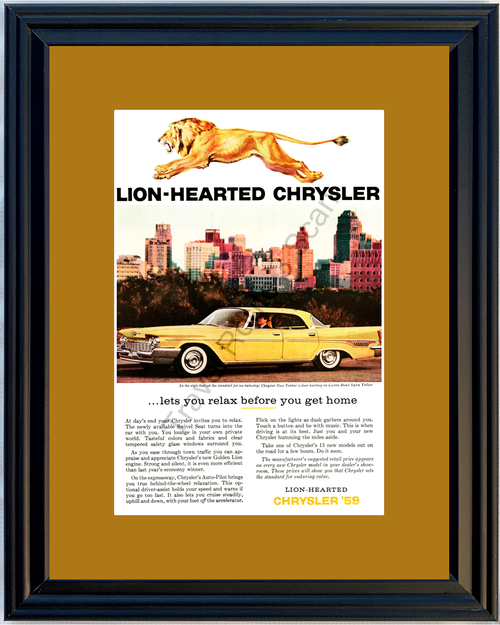 1959 Chrysler New Yorker Vintage Ad Lustre-Bond Spun Yellow Lion Hearted 59 *You Choose Frame-Mat Colors-Free USA S&H*