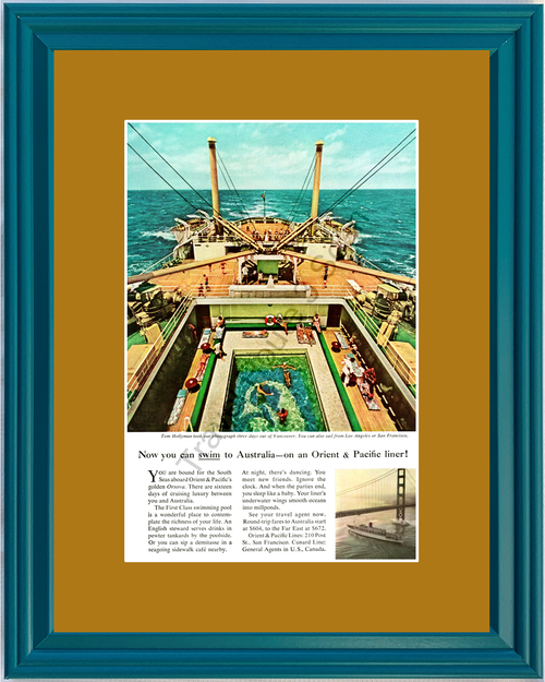1959 Cunard Line Australia Cruise Vintage Ad Orient & Pacific's Orsova Vacation Travel 59 *You Choose Frame-Mat Colors-Free USA S&H*
