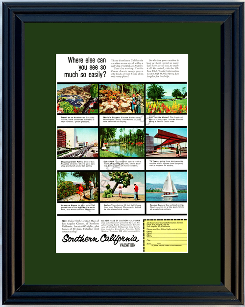 1959 Southern California SoCal Catalina Island Vintage Ad Joshua Tree Travel 59 *You Choose Frame-Mat Colors-Free USA S&H*