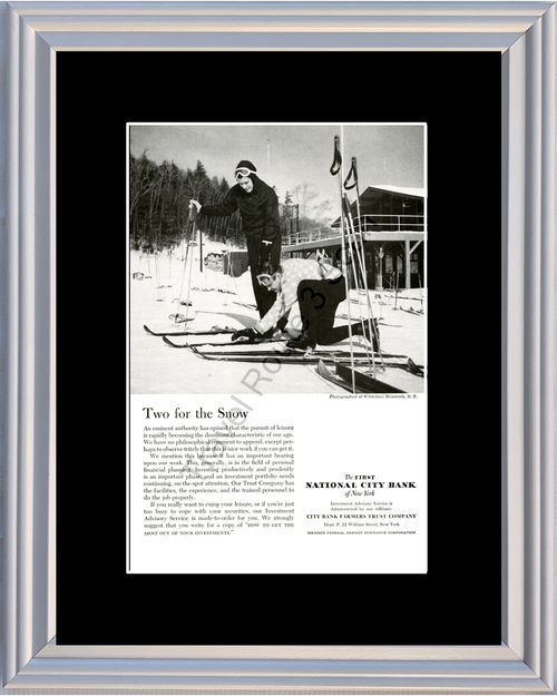 1959 National City Bank of New York Vintage Ad Whiteface Mountain Ski Skiing 59 *You Choose Frame-Mat Colors-Free USA S&H*