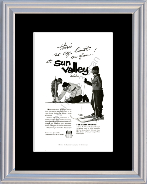 1959 Sun Valley Idaho ID Vintage Ad Union Pacific Railroad Ski Skiing Travel Vacation *You Choose Frame-Mat Colors-Free USA S&H*