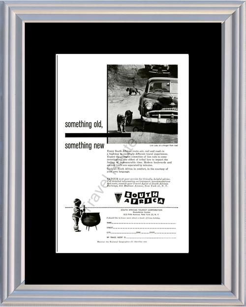 1959 South Africa Lion Cubs Vintage Ad Kruger Park SATour Vacation Travel 59 *You Choose Frame-Mat Colors-Free USA S&H*