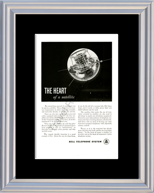 1959 Bell Telephone System Vintage Ad The Heart of a Satellite Transistor 59 *You Choose Frame-Mat Colors-Free USA S&H*