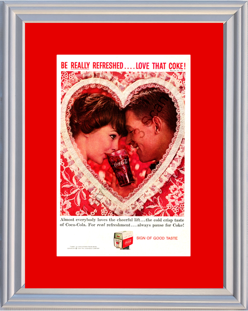 1959 Coca Cola Sign of Good Vintage Ad Taste Valentine's Day Pause for Coke 59 *You Choose Frame-Mat Colors-Free USA S&H*