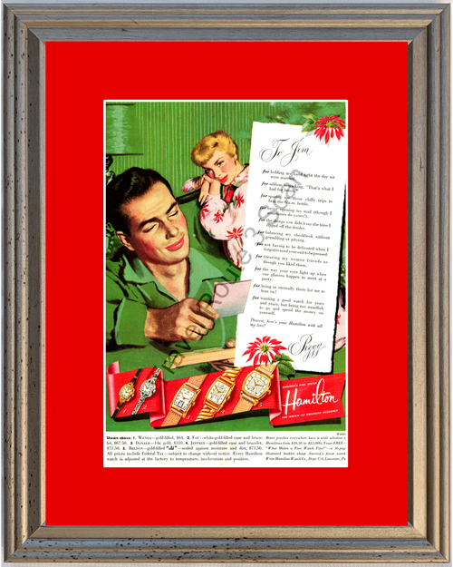 1951 Hamilton Watch Vintage Ad Christmas Marriage 51 *You Choose Frame-Mat Colors-Free USA S&H*