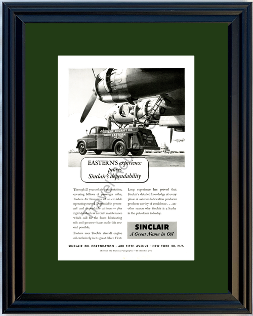 1951 Sinclair Oil Aircraft Vintage Ad Eastern Air Lines Airplane Engine 51 *You Choose Frame-Mat Colors-Free USA S&H*