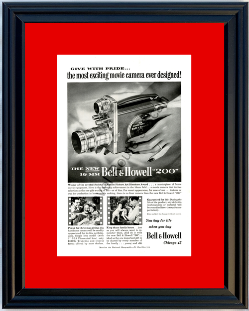 1951 Bell & Howell 200 16mm Camera Vintage Ad Home Movie Christmas 51 *You Choose Frame-Mat Colors-Free USA S&H*