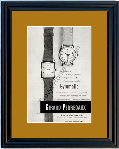 1951 Girard Perregaux Gyromatic Gold Watch Vintage Ad Stainless Steel 51 *You Choose Frame-Mat Colors-Free USA S&H*