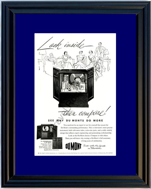 1951 Du Mont Television Radio Vintage Ad Phono Cabinet DuMont TV 51 *You Choose Frame-Mat Colors-Free USA S&H*