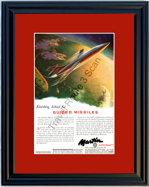 1951 Martin Aircraft Guided Missiles Vintage Ad Air Force Missile Test Center USAF 51 *You Choose Frame-Mat Colors-Free USA S&H*