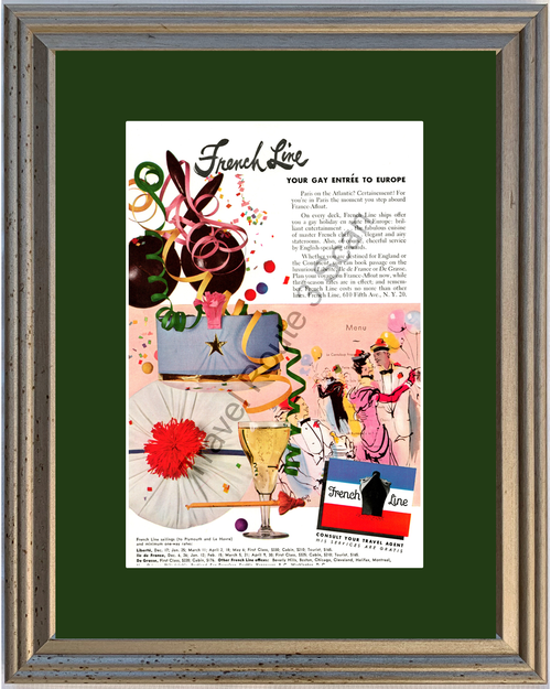 1951 French Line Cruise Paris Vintage Ad France Afloat Vacation Travel 51 *You Choose Frame-Mat Colors-Free USA S&H*