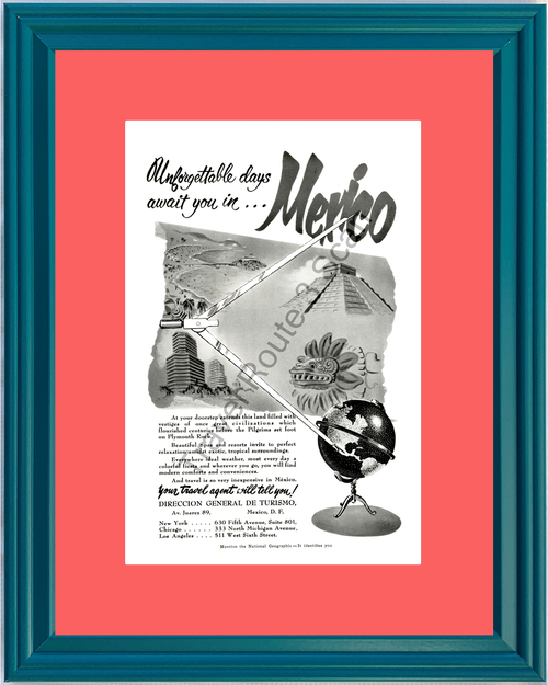 1951 Mexico Beaches Mayan Temple Vintage Ad Vacation Travel 51 *You Choose Frame-Mat Colors-Free USA S&H*