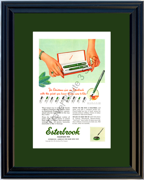 1951 Esterbrook Fountain Pen Vintage Ad Calligraphy Ink Push Pencil Merry Christmas Gift Holiday Desk 51 *You Choose Frame-Mat Colors-Free USA S&H*