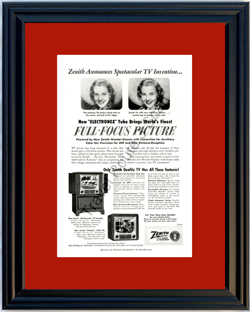 1951 Zenith Radio Color Television Vintage Ad TV Console Electronex Tube 51 *You Choose Frame-Mat Colors-Free USA S&H*