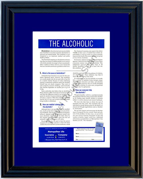 1951 Metropolitan Life Insurance Alcoholic Alcoholism Vintage Ad Met Alcohol 51 *You Choose Frame-Mat Colors-Free USA S&H*