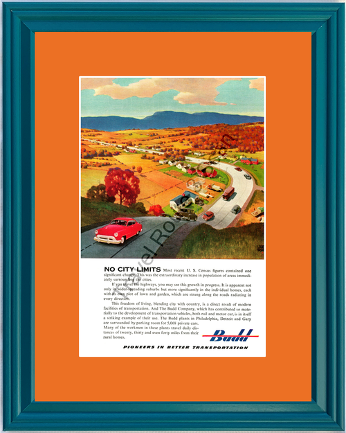 1951 Budd Pioneers in Better Transportation Vintage Ad Rail Railroad Motor Car Automobile 51 *You Choose Frame-Mat Colors-Free USA S&H*