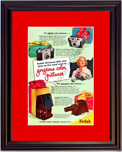1951 Kodak Camera Table Viewer Vintage Ad Projector Color Photo Pictures Christmas 51 *You Choose Frame-Mat Colors-Free USA S&H*