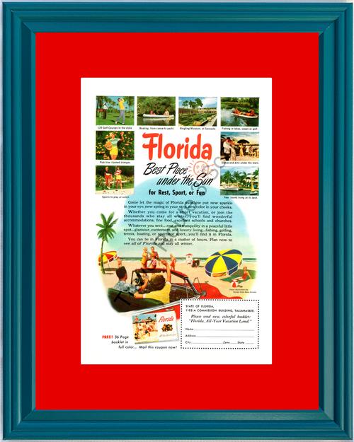 1951 Florida Beach Golf Sun Sunshine Vintage Ad Vacation Fishing Boating Travel Oranges Travel *You Choose Frame-Mat Colors-Free USA S&H*