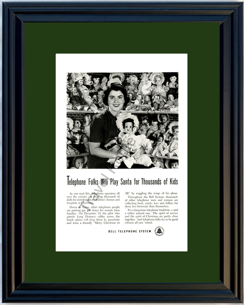 1951 Bell Telephone System Operator Baby Doll Vintage Ad Christmas 51 *You Choose Frame-Mat Colors-Free USA S&H*