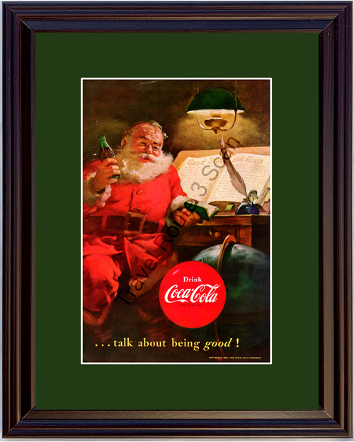 1951 Drink Coca-Cola Coke Santa Vintage Ad Christmas Talk About Being Good 51 *You Choose Frame-Mat Colors-Free USA S&H*
